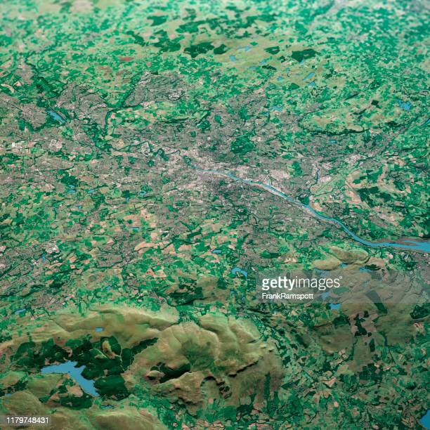 glasgow scotland 3d render aerial landscape view from north sep 2019 - frankramspott stock pictures, royalty-free photos & images