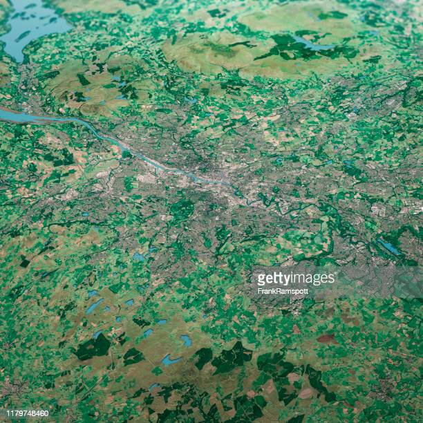 glasgow scotland 3d render aerial landscape view from south sep 2019 - frankramspott stock pictures, royalty-free photos & images