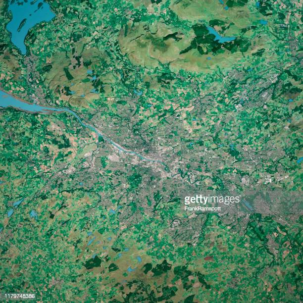 glasgow scotland 3d render aerial top view sep 2019 - frankramspott stock pictures, royalty-free photos & images