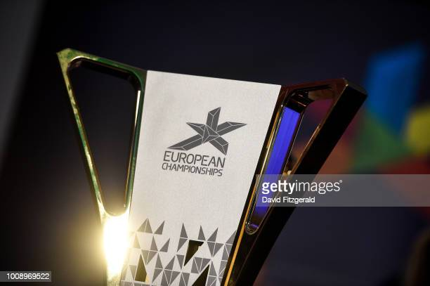 Glasgow United Kingdom 1 August 2018 A general view of championship trophy prior to the official opening of the 2018 European Championships in...