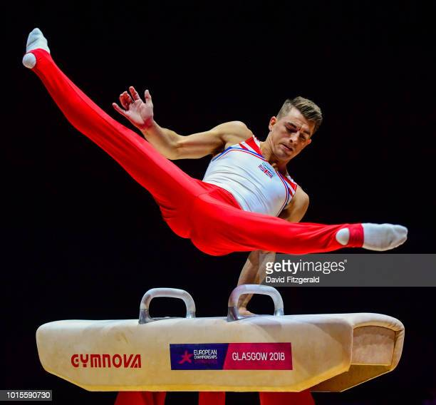 Glasgow United Kingdom 12 August 2018 Max Whitlock of Great Britain competing on the Pommel Horse in the Senior Men's Gymnastics final during day...