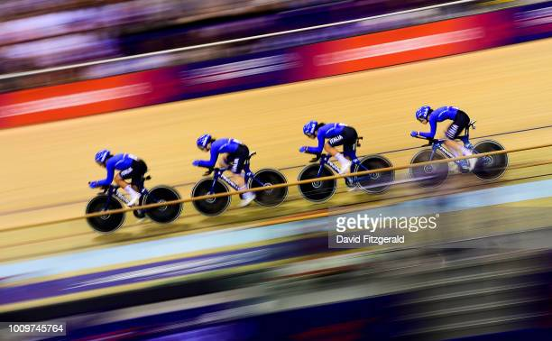 Glasgow , United Kingdom - 2 August 2018; Team Italy in action during the Women's Team Pursuit Qualifying during day one of the 2018 European...
