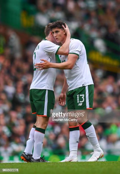 Glasgow United Kingdom 20 May 2018 Callum O'Dowda right is congratulated by his Republic of Ireland XI teammate Seamus Coleman after scoring his...