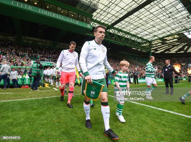 Glasgow United Kingdom 20 May 2018 Seamus Coleman of Republic of Ireland XI leads his side out prior to Scott Brown's testimonial match between...