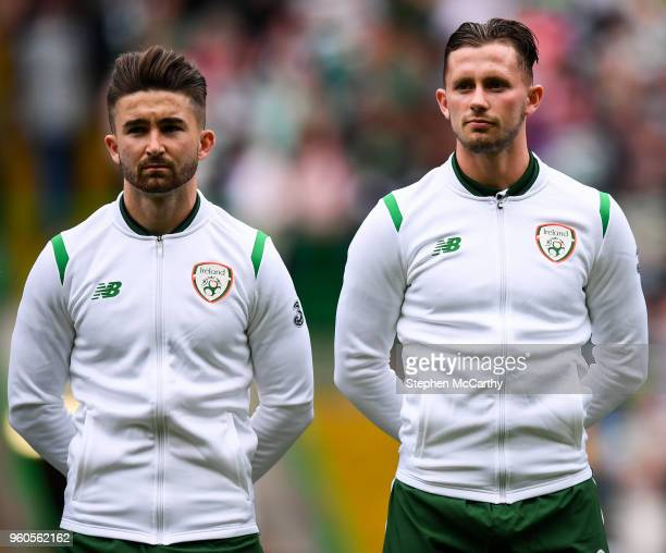Glasgow United Kingdom 20 May 2018 Sean Maguire left and Alan Browne of Republic of Ireland XI during Scott Brown's testimonial match between Celtic...