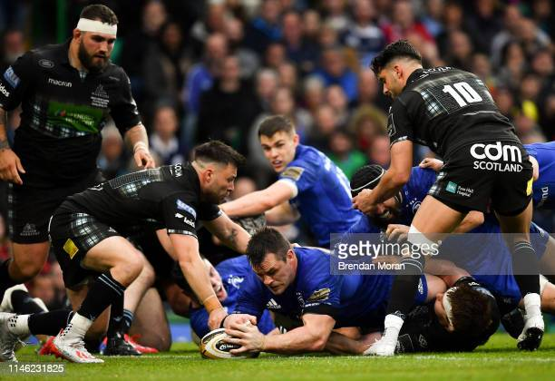 Glasgow United Kingdom 25 May 2019 Cian Healy of Leinster scores his side's second try during the Guinness PRO14 Final match between Leinster and...