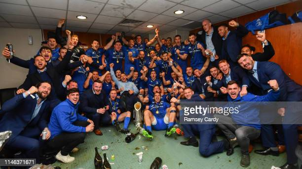 Glasgow United Kingdom 25 May 2019 The Leinster squad celebrates in the dressing room following the Guinness PRO14 Final match between Leinster and...
