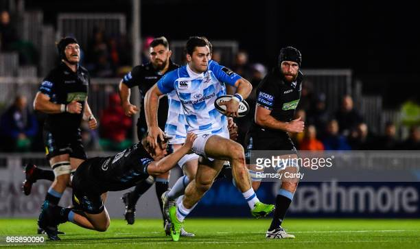 Glasgow United Kingdom 3 November 2017 Conor O'Brien of Leinster is tackled by Matt Smith of Glasgow Warriors during the Guinness PRO14 Round 8 match...