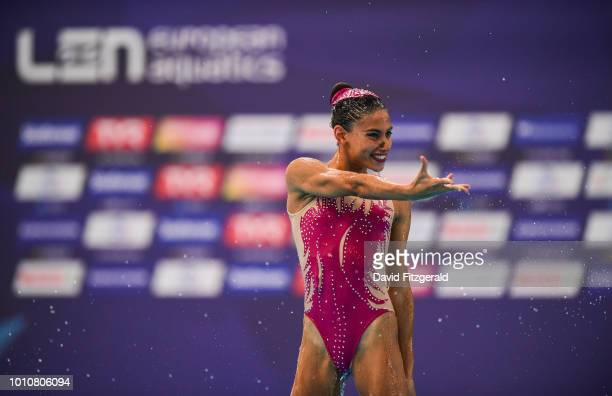 Glasgow United Kingdom 4 August 2018 Team Portugal competing in the Synchronised Swimming Team Free Routine Final during day three of the 2018...