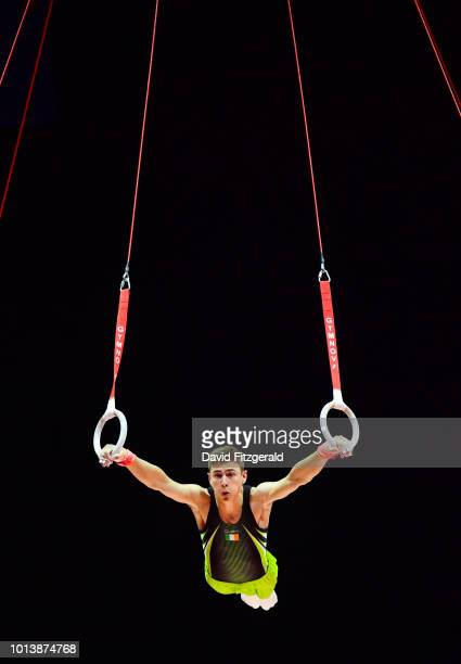 Glasgow United Kingdom 9 August 2018 Adam Steele of Ireland in action on the Rings in the Senior Men's Individual Apparatus qualification during day...