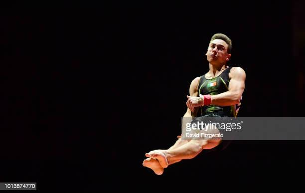 Glasgow United Kingdom 9 August 2018 Adam Steele of Ireland in action on the Vault in the Senior Men's Individual Apparatus qualification during day...