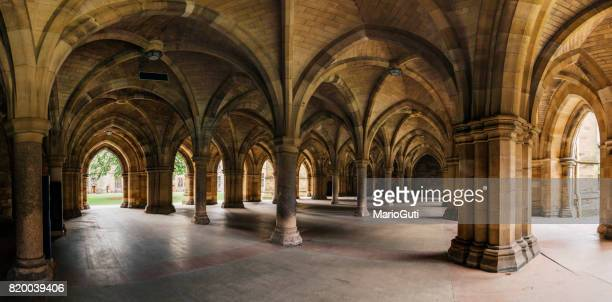 glasgow university cloister columns - old glasgow stock photos and pictures