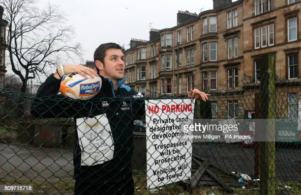 Glasgow Warrior Ryan Wilson at a piece of waste ground near Great Western Road during a photocall in GlasgowPicture date Wednesday December 21 2011...