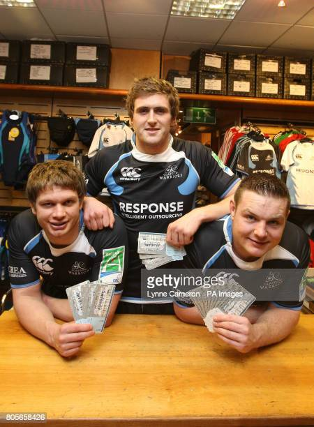 Glasgow Warriors' Calum Forrester Richie Vernon and Jon Welsh promote the selling of tickets at Greaves Sports in Glasgow