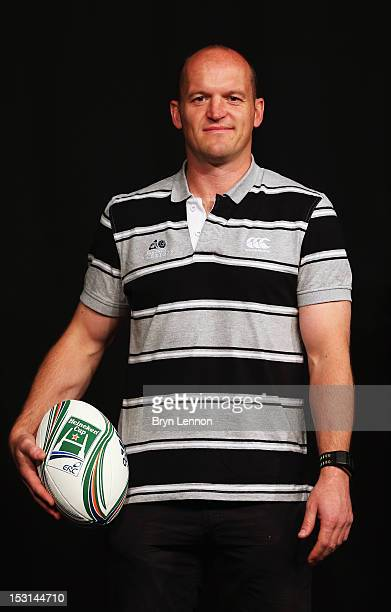 Glasgow Warriors Director of Rugby Gregor Townsend poses with a match ball during the UK Heineken Cup and Amlin Challenge Cup season launch at SKY...