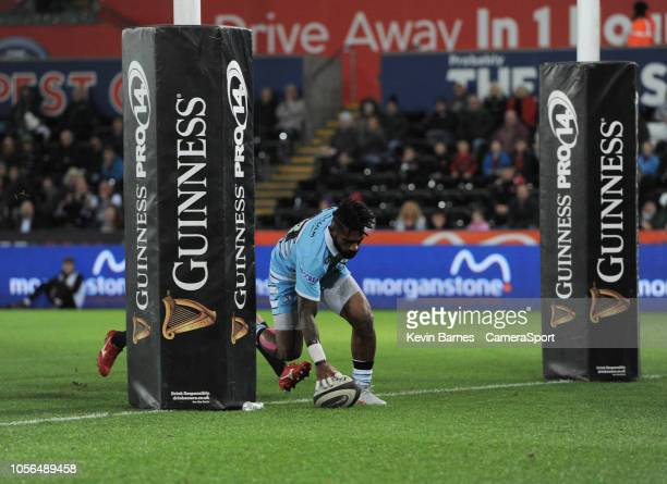 Glasgow Warriors' Nikola Matawalu scores his sides second try during the Guinness Pro14 Round match between Ospreys and Glasgow Warriors at Liberty...