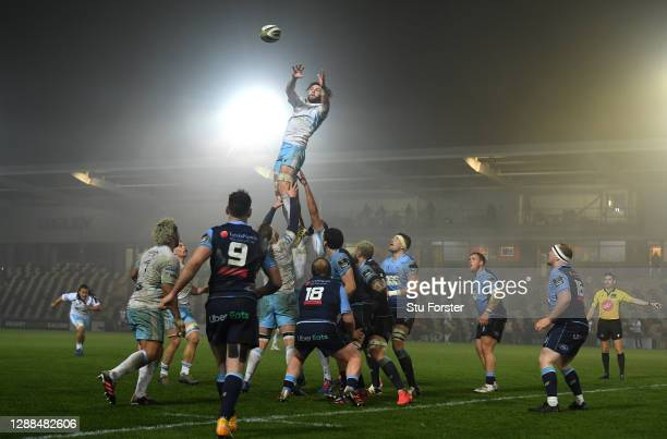 Glasgow Warriors player Ryan Wilson wins a lineout ball during the Guinness PRO14 match between Cardiff Blues and Glasgow Warriors at Rodney Parade...