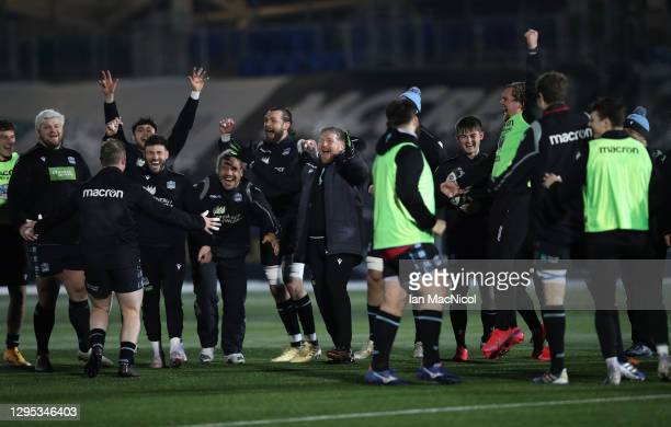 Glasgow Warriors players celebrate as the Guinness Pro14 match between Glasgow Warriors and Edinburgh is abandoned due to a frozen pitch at Scotstoun...