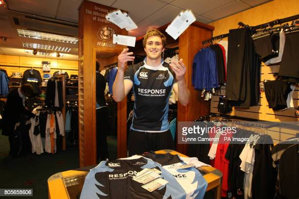 Glasgow Warriors' Richie Vernon promotes the selling of tickets at Greaves Sports in Glasgow
