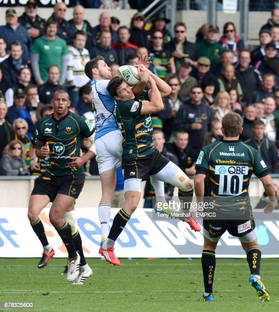 Glasgow Warriors' Tommy Seymour and Northampton Saints' Vasily Artemyev go for a high ball
