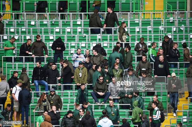 Celtic fans begin to fill the new safe standing area