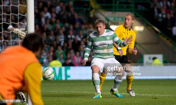 Celtic's Kris Commons opens the scoring in the second half.