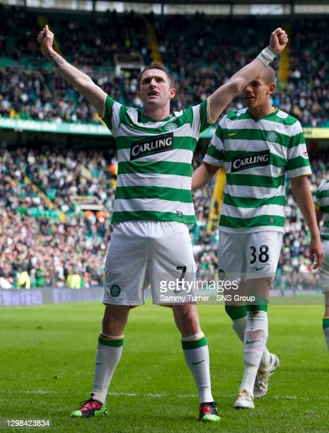 Celtic's Robbie Keane accepts the plaudits after increasing his side's lead