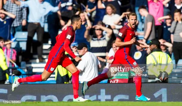 England's Harry Kane celebrates after he scores his side's equaliser