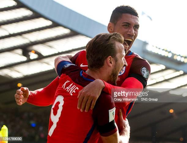 England's Harry Kane celebrates his goal with Chris Smalling