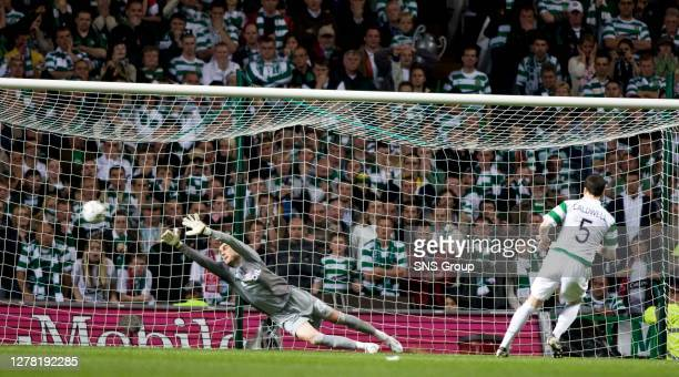 Gary Caldwell gets Celtic off to best possible start in the penalty shoot-out past stipe pletikosa
