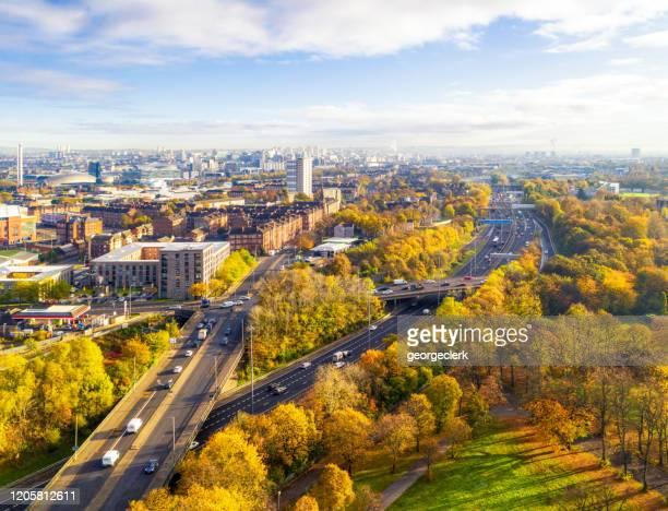 glasgow's cityscape in autumn - glasgow scotland stock pictures, royalty-free photos & images
