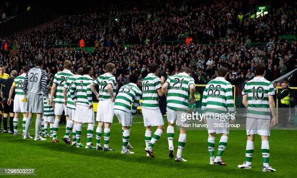 The Celtic starting line-up show off the Japanese spelling in the back of their shirts