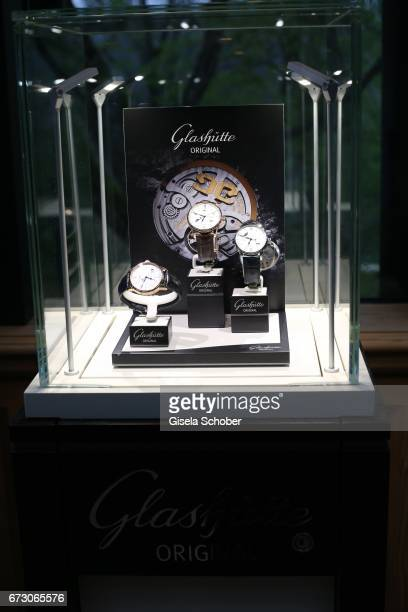 Glashuette Original watches are displayed during the piano night hosted by Wempe and Glashuette Original at Gruenwalder Einkehr on April 25 2017 in...