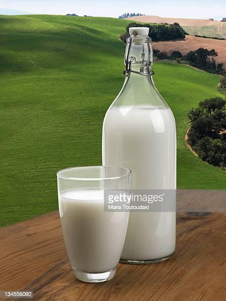 Glass and bottle full of milk