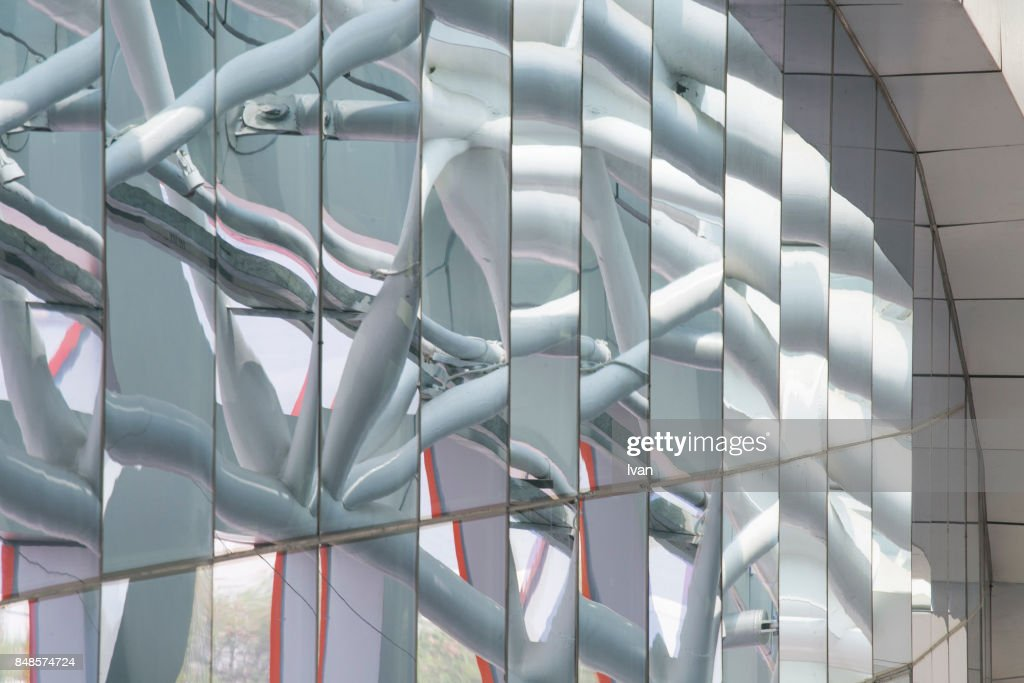Glass Architecture Reflection in Shenzhen Port : Stock Photo