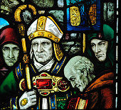 Glass art of Saint Patrick close-up