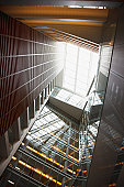 Glass atrium and skylight in modern office building