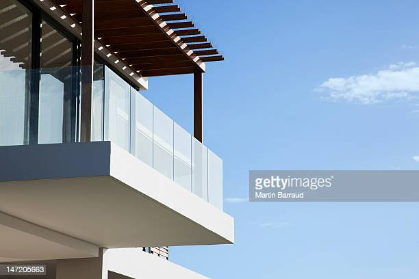 glass balcony on modern house - balcony stock pictures, royalty-free photos & images