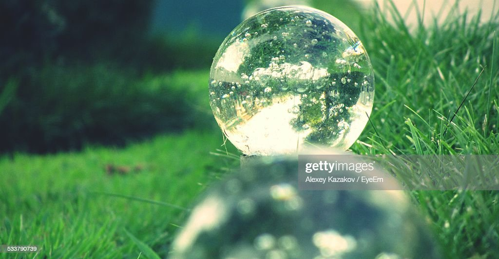 Glass Balls On Grass : Foto stock
