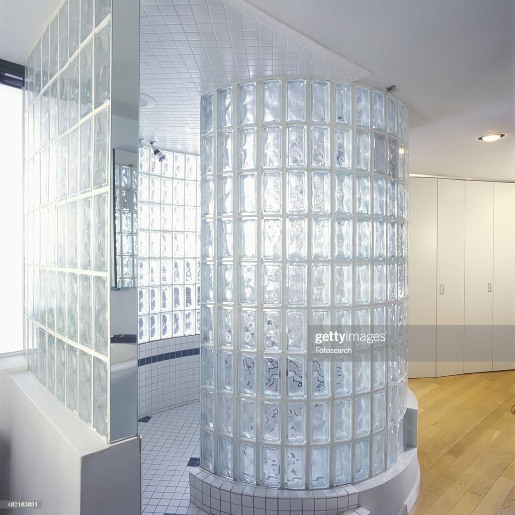 Glass Block Shower Stall Stock Photo | Getty Images