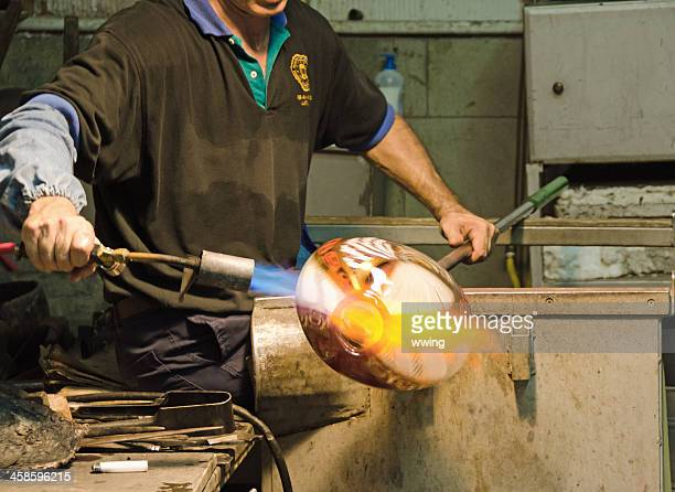 glass blower at work - murano stock pictures, royalty-free photos & images