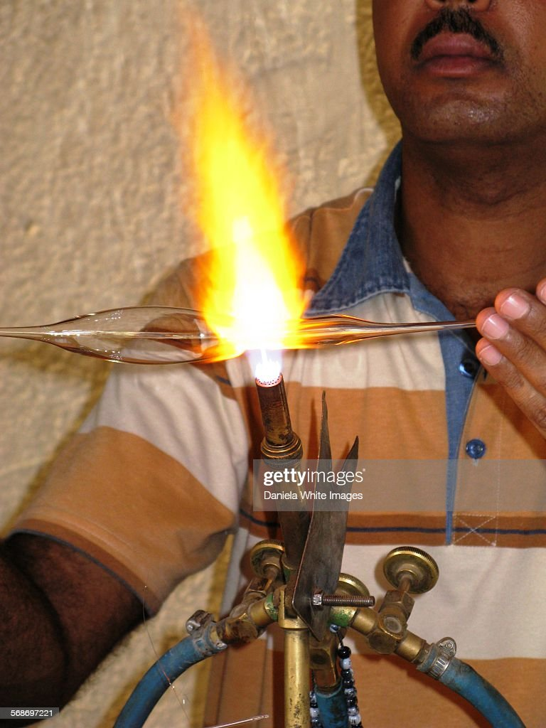 Glass blowing : Stock Photo