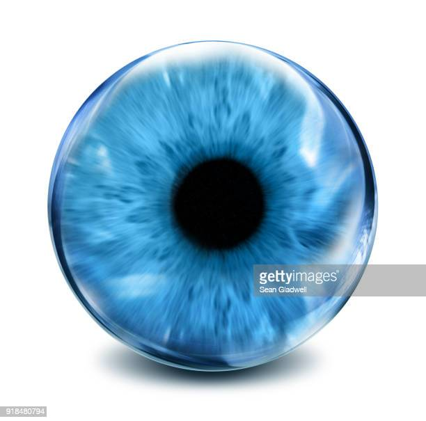 glass blue eye - lens eye stock photos and pictures