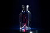 Glass bottle cut in half