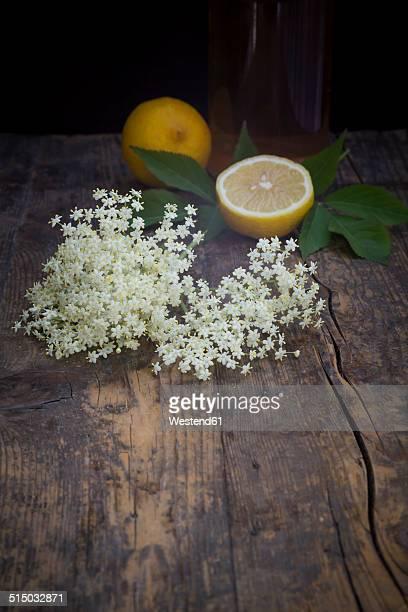 Glass bottle of elderflower sirup, elderflower and whole and a half lemon on dark wood