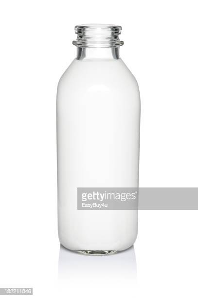 A glass bottle of milk against a white background
