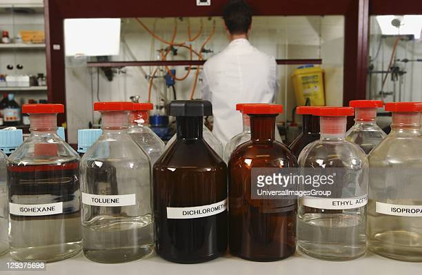 Glass bottles containing chemicals
