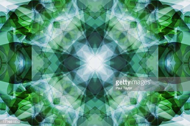 Glass Bottles in Abstract Pattern