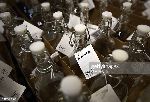 Glass bottles sit for sale inside the Ikea Beijing Xihongmen Store operated by Ikea AB in Beijing China on Monday March 9 2015 China's consumer...