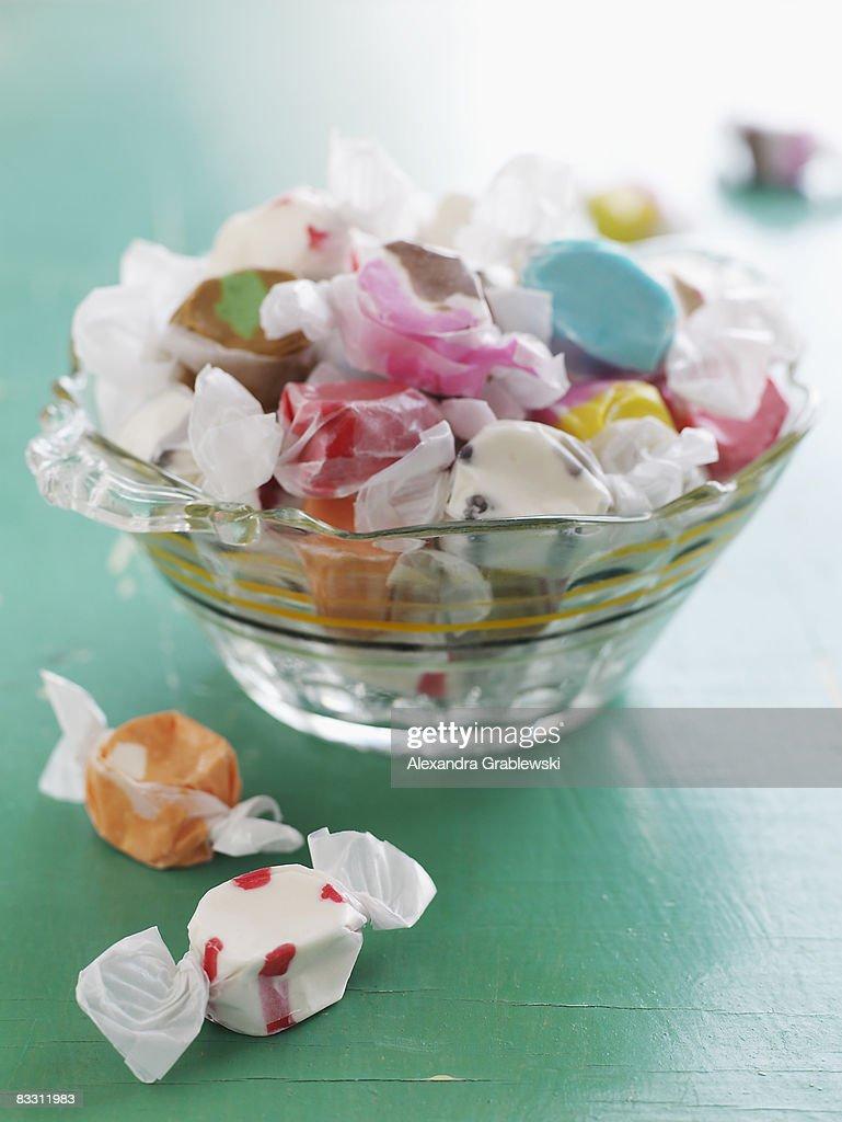 Glass Bowl of Salt Water Taffy : Stock Photo